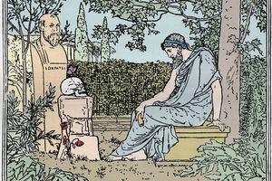 Plato meditating on immortality before Socrates