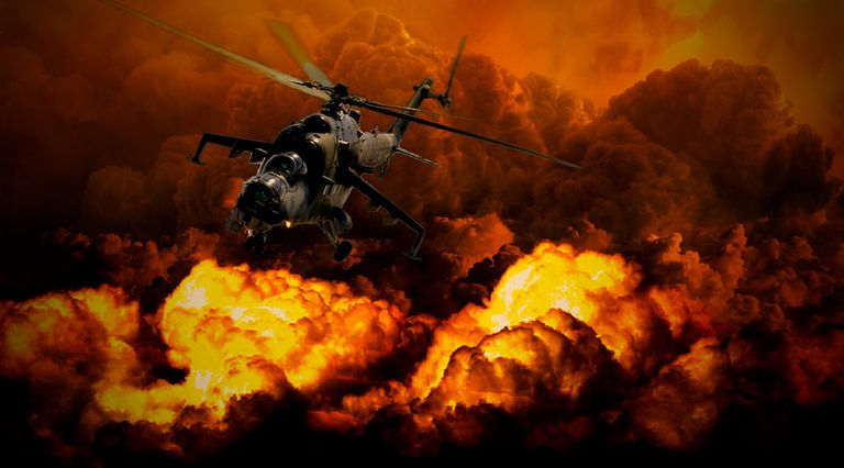 Artist rendering of nuclear war with a helicopter and mushroom cloud.