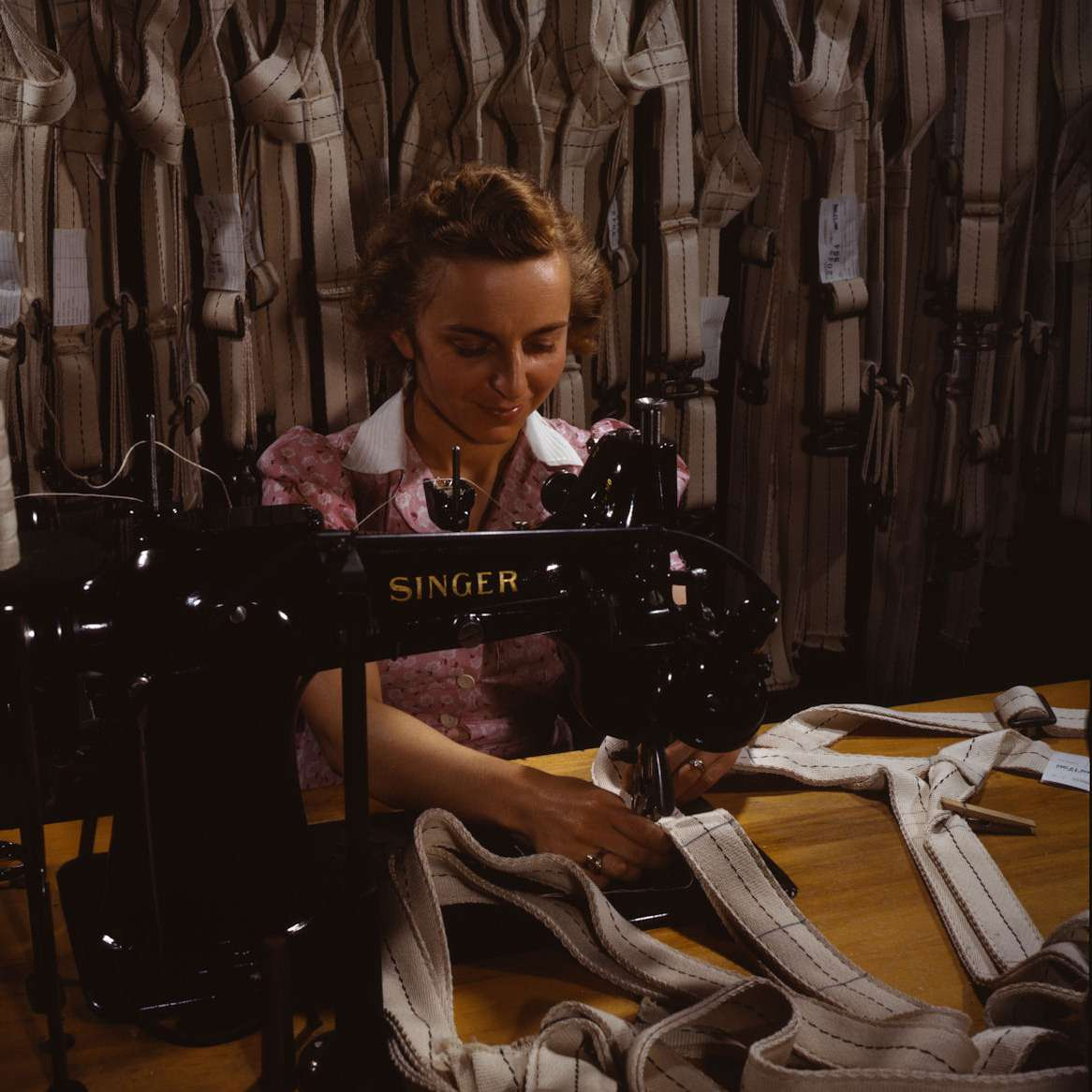 Woman Sewing Parachute Harnesses - World War II Homefront Factory