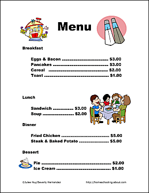 use these free restaurant printables to teach kids functional skills