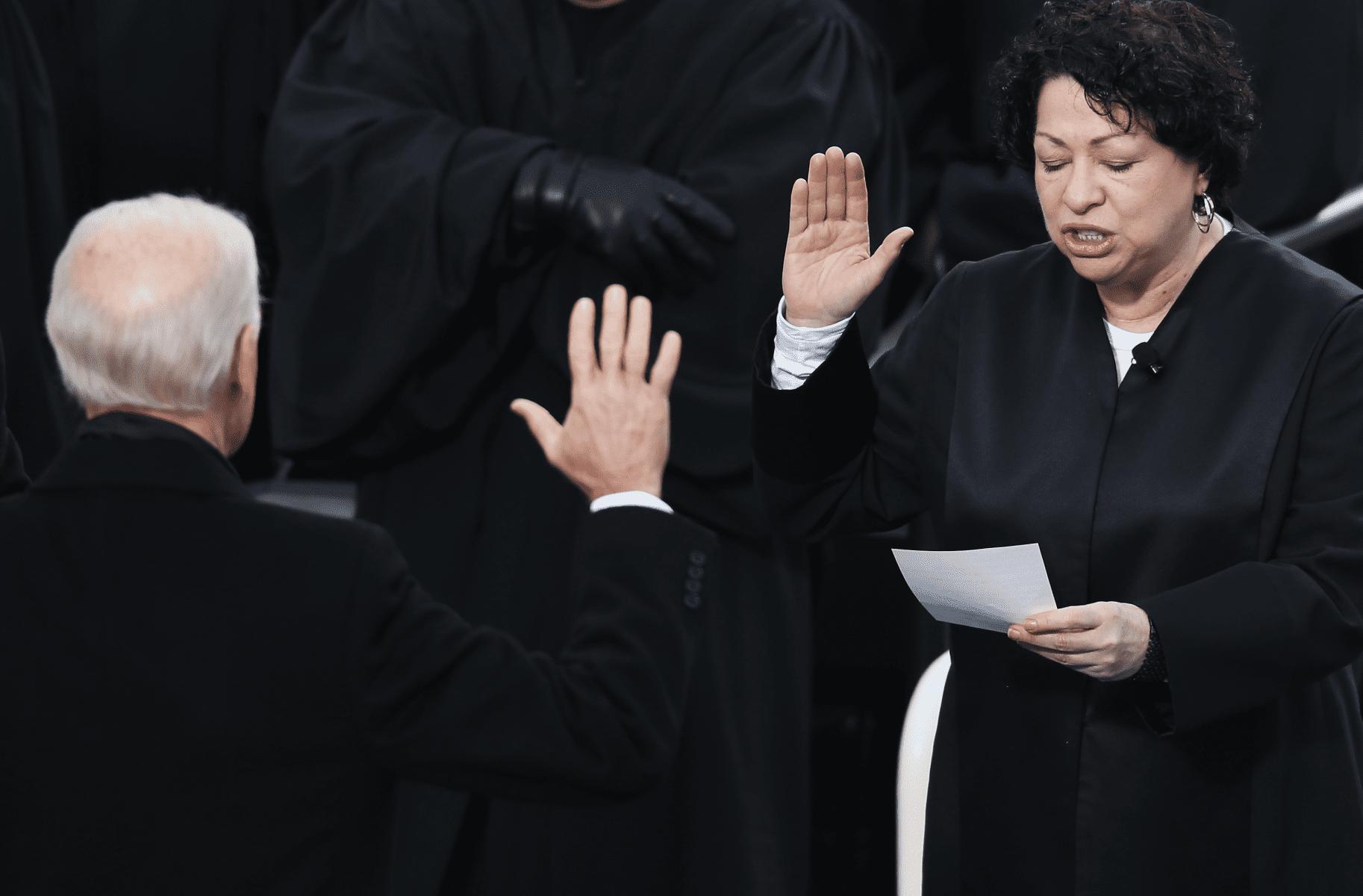 Justice Sonia Sotomayor and Vice President Joe Biden