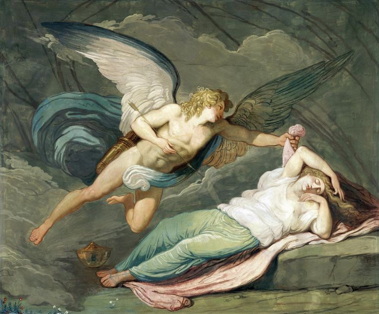 Scene from The myth of Cupid and Psyche, by Felice Giani, 1794, tempera wall painting