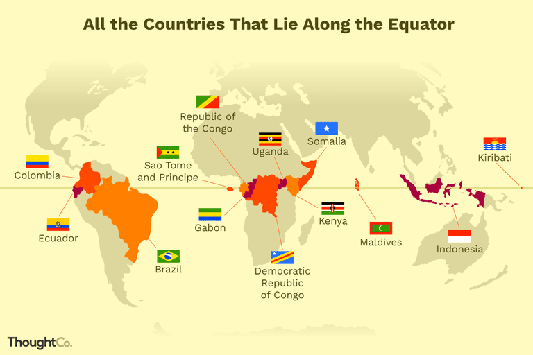Map of countries that lie on the equator