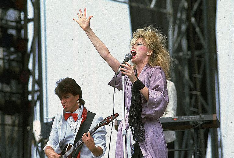 Terri Nunn of the group Berlin performs with guitarist David Diamond at the US Festival, Ontario, California, May 30, 1983.