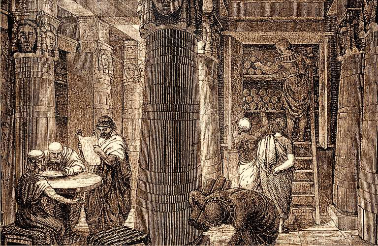 Sepia sketch of people inside the library of Alexandria.