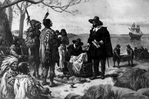 Painting - Peter Minuit purchases Manhattan Island from Man-a-hat-a Indigenous people
