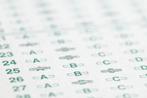 Optical scan answer sheet with responses bubbled in by #2 pencil.