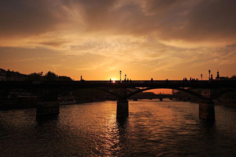 France, Paris, City at sunset