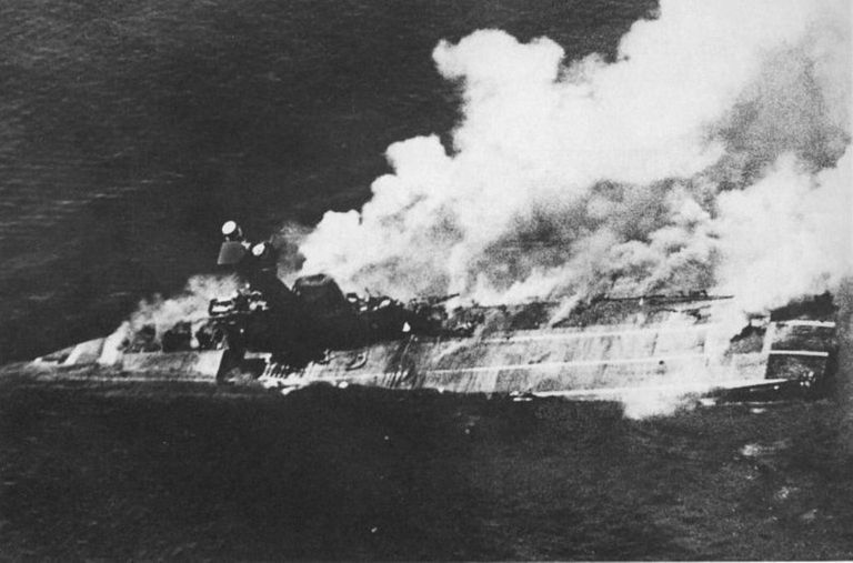 HMS Hermes sinking during World War II