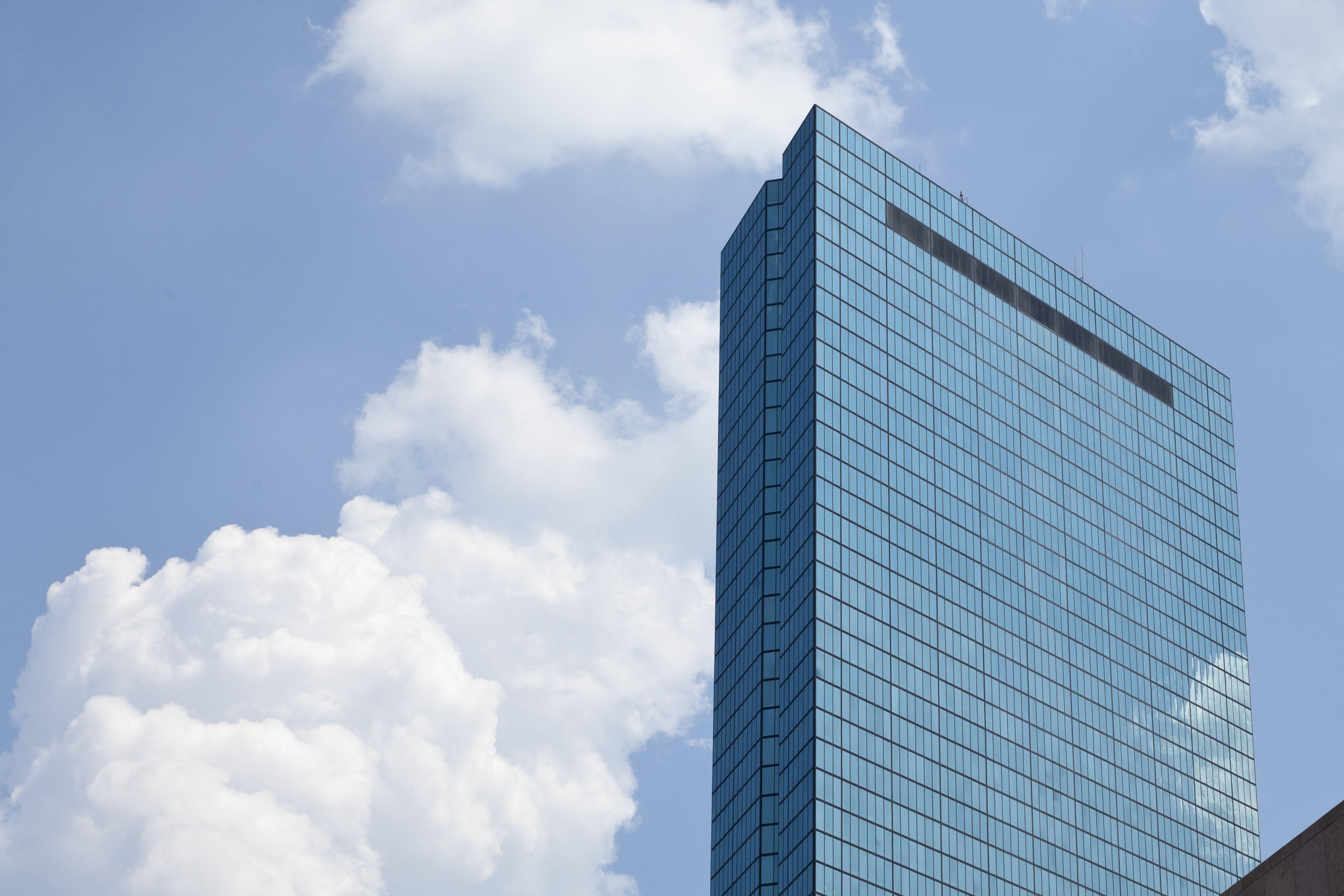 Glass facade skyscraper, the John Hancock Tower in Boston