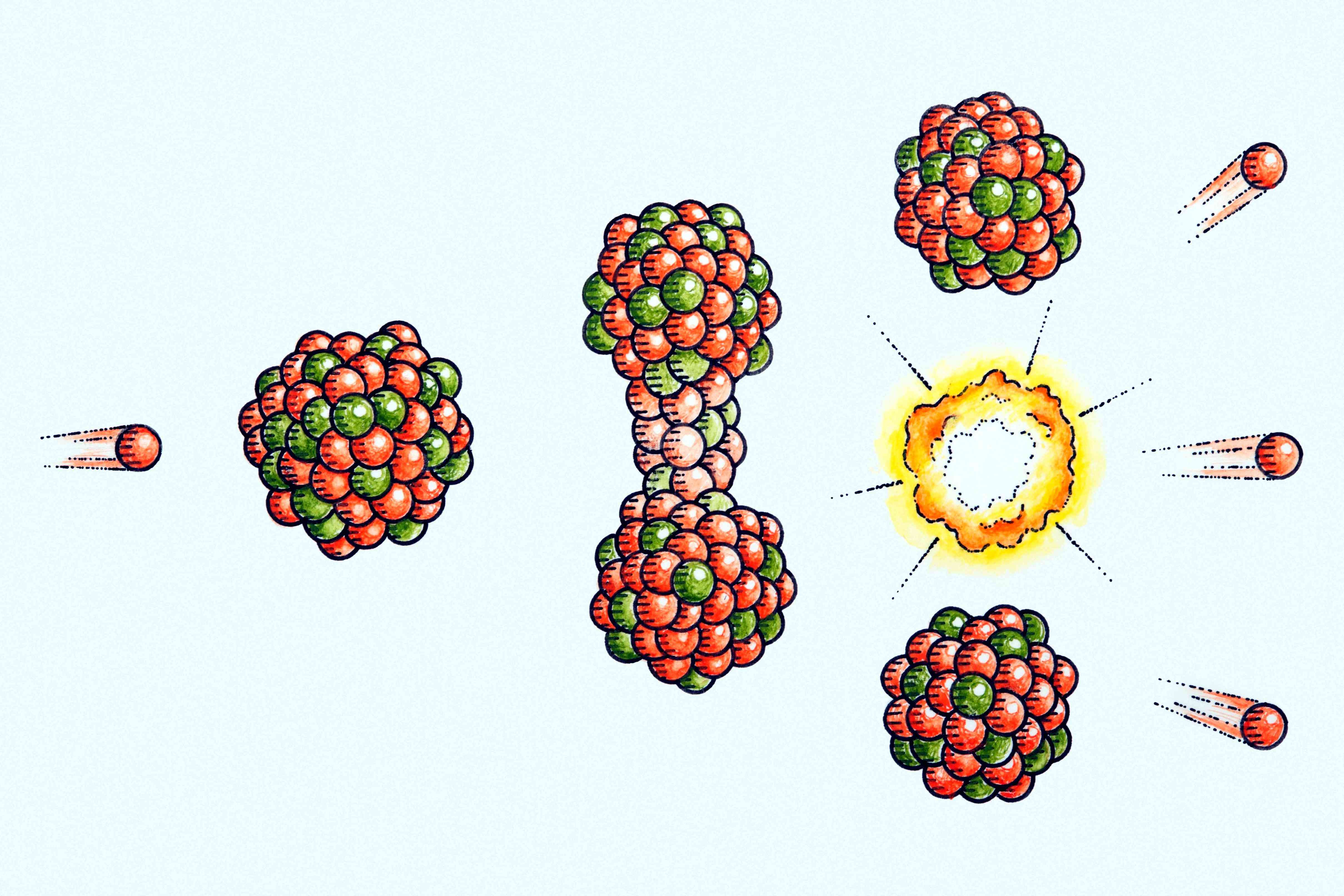 A neutron hits the nucleus of Uranium-235, which becomes unstable and splits to release energy and neutrons