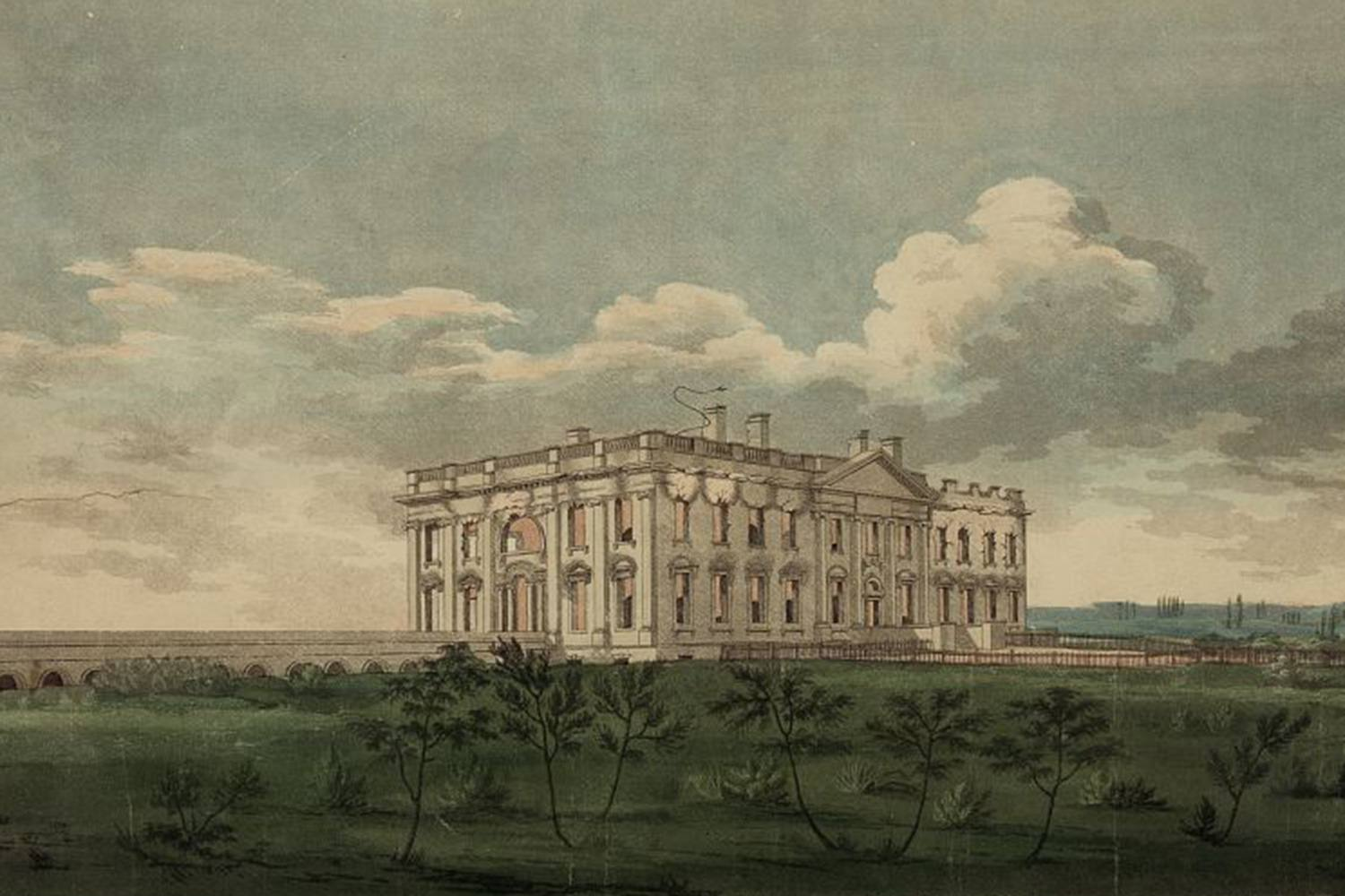 White House on Fire during the War of 1812