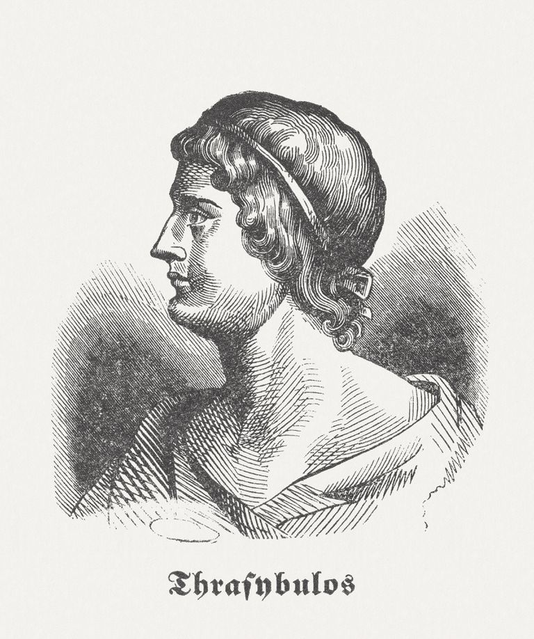 Wood engraving of Thrasybulus, published in 1864