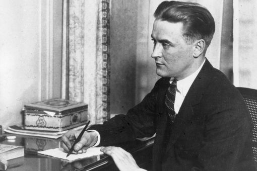 F. Scott Fitzgerald writing at his desk