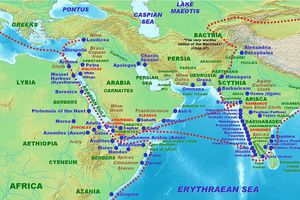 Map of Indian and Roman trade.