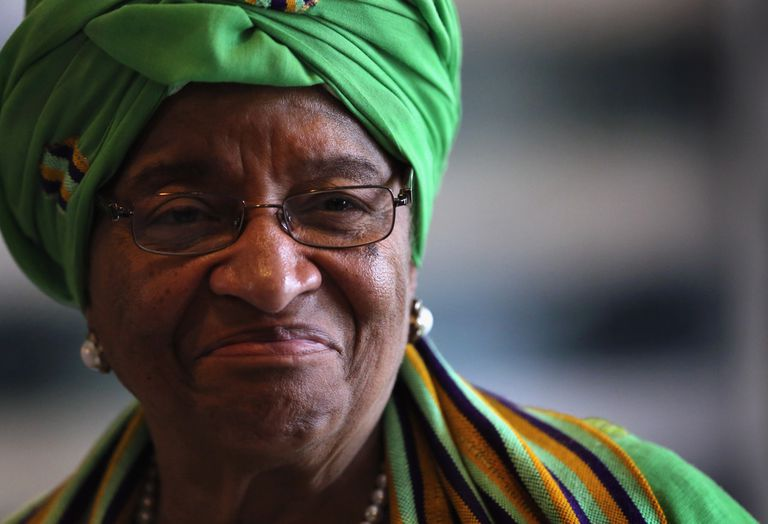 Close up of Ellen Johnson-Sirleaf smiling.