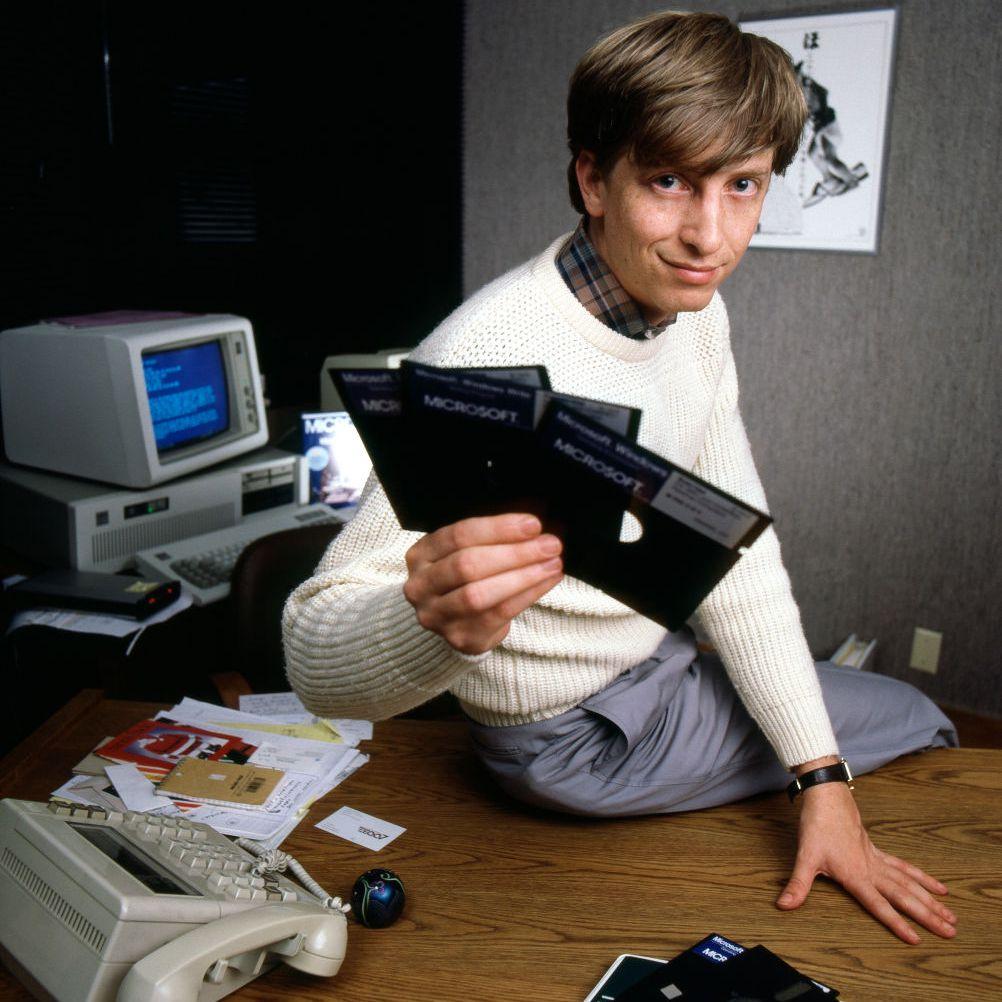 Bill Gates poses in November 1985 in Bellevue, Washington.
