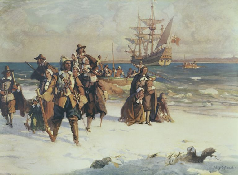 Painting depicting the arrival of the Pilgrims in Plymouth, Massachusetts