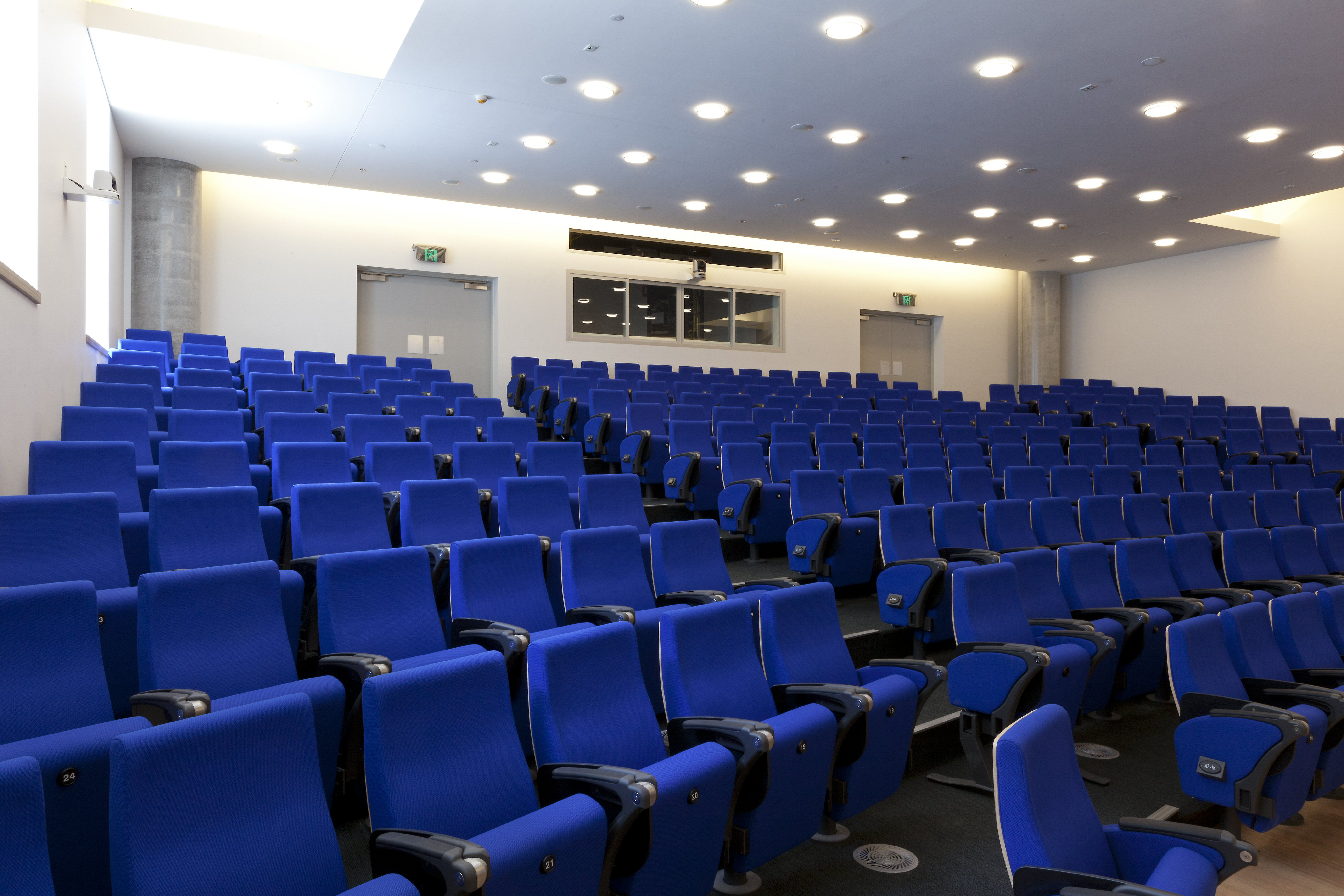 Small theatre, blue seats, Gehry-Designed 2015 Business School, Univ Technology Sydney