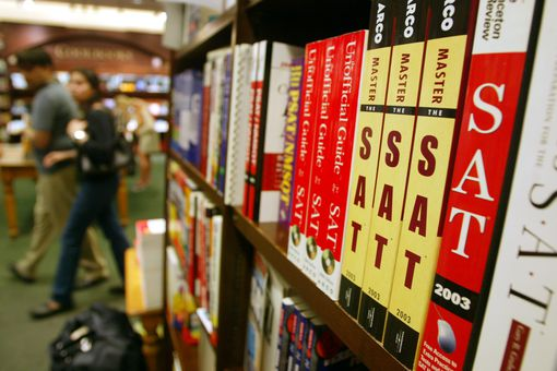 SAT-test-prep-books-on-shelf
