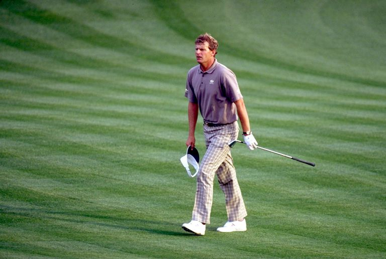Sandy Lyle at the 1988 Masters, which he won with a great bunker shot and birdie putt on the final hole.