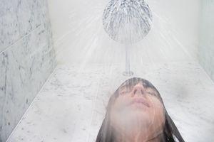 girl showering
