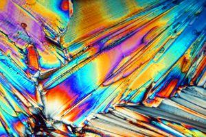 Epsom salt crystals through a microscope