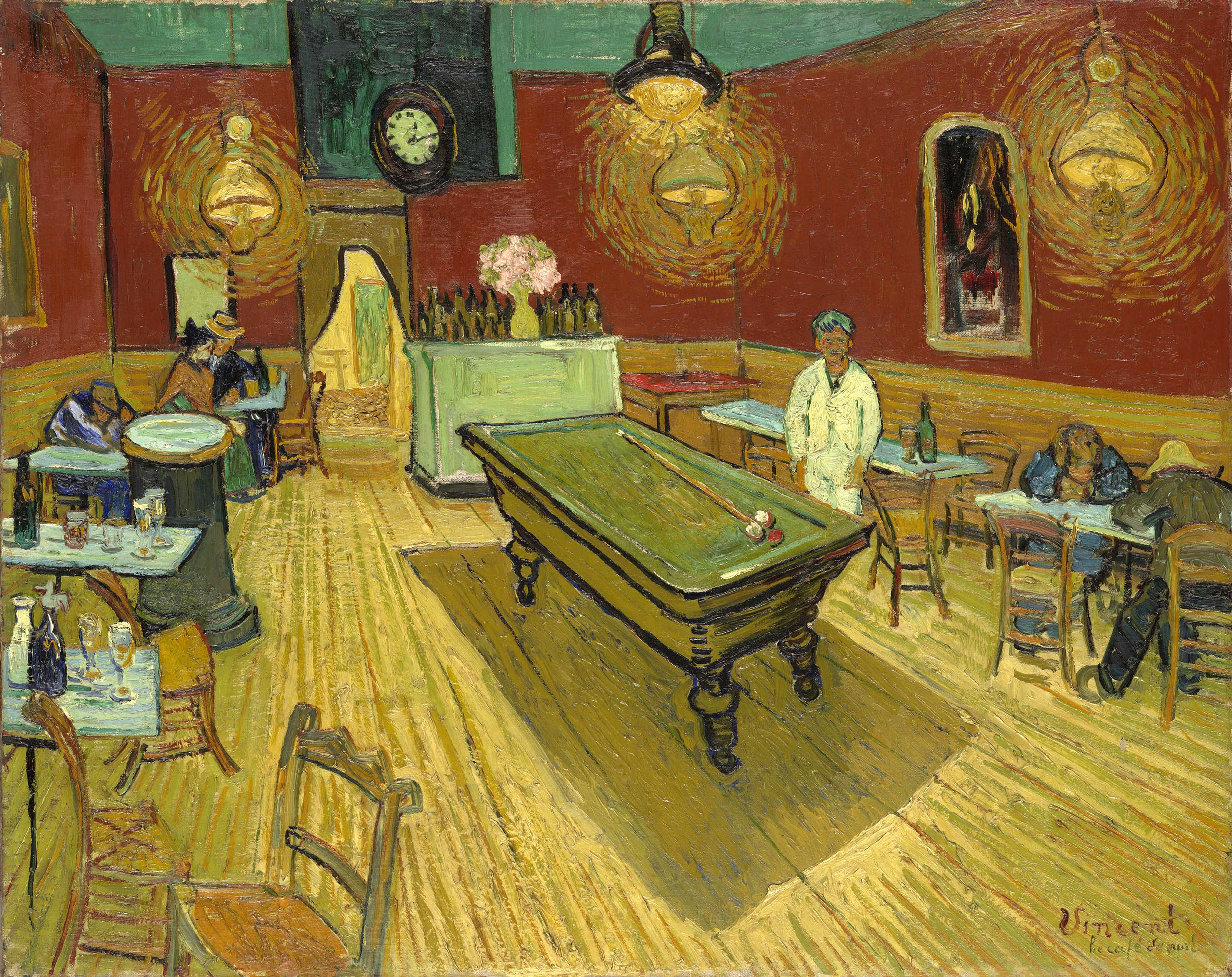 Room with red walls, yellow floor, hanging lights, clock, bar, and pool table.