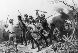 A tax collector tarred and feathered during the Whiskey Rebellion.