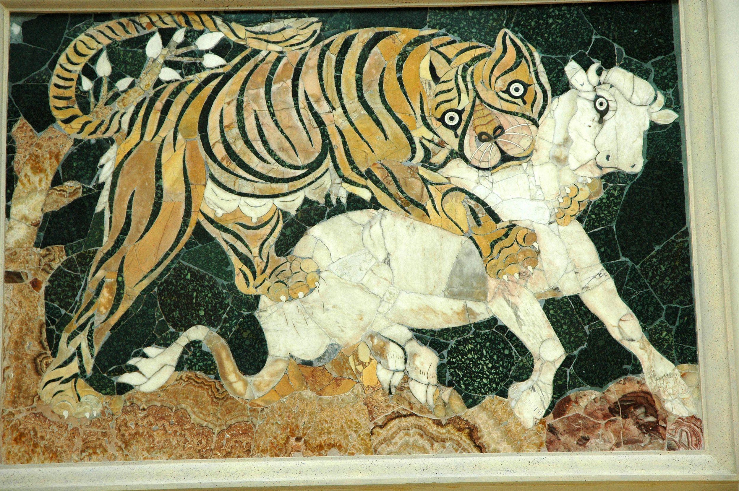 1er C AD Tigress attaquant un veau.  Mosaïque Dans la technique Opus sectile