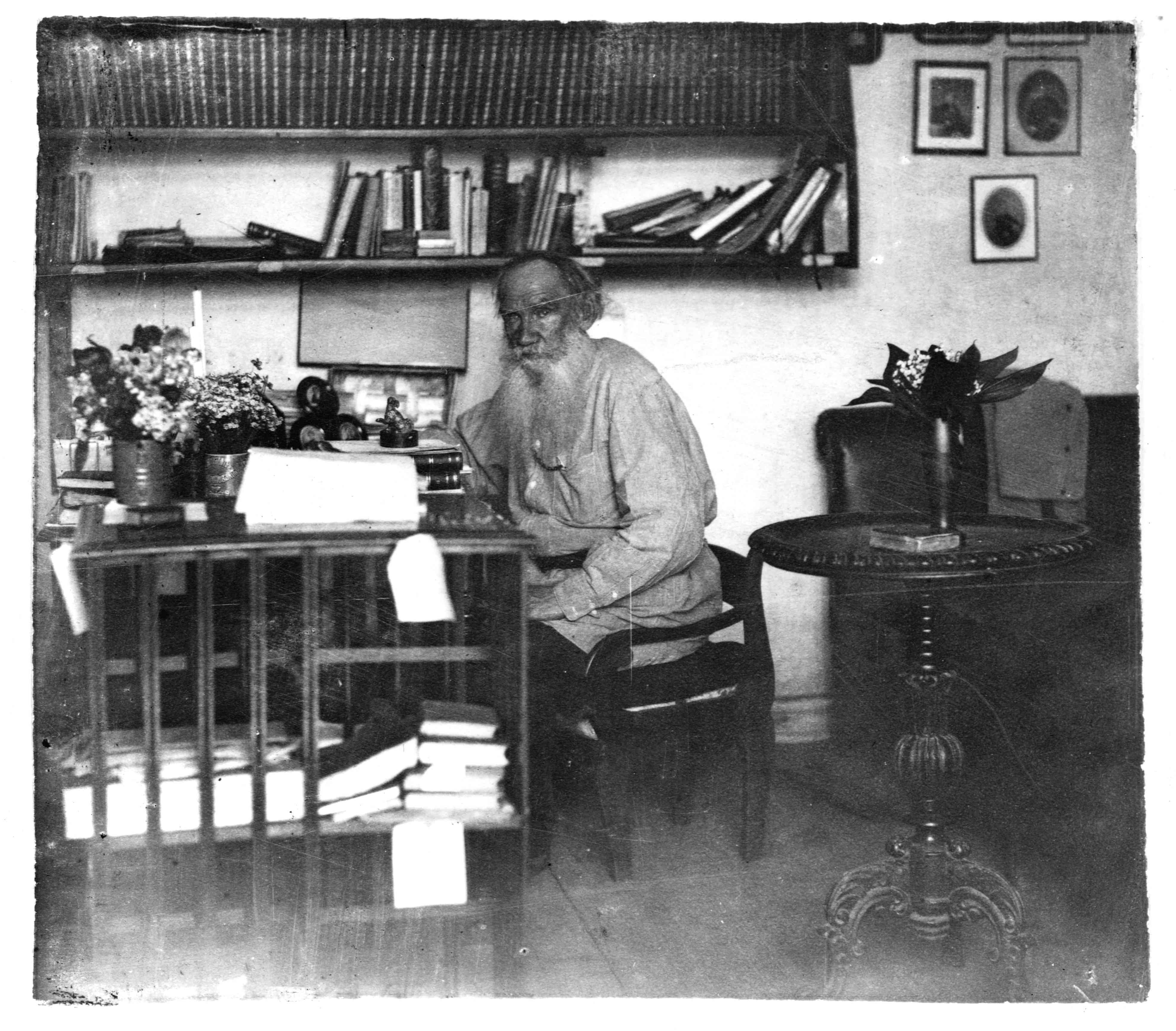 Tolstoy at his writing desk