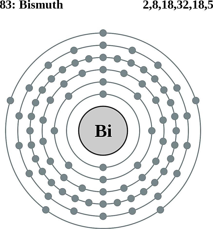 This diagram of a bismuth atom shows the electron shell.