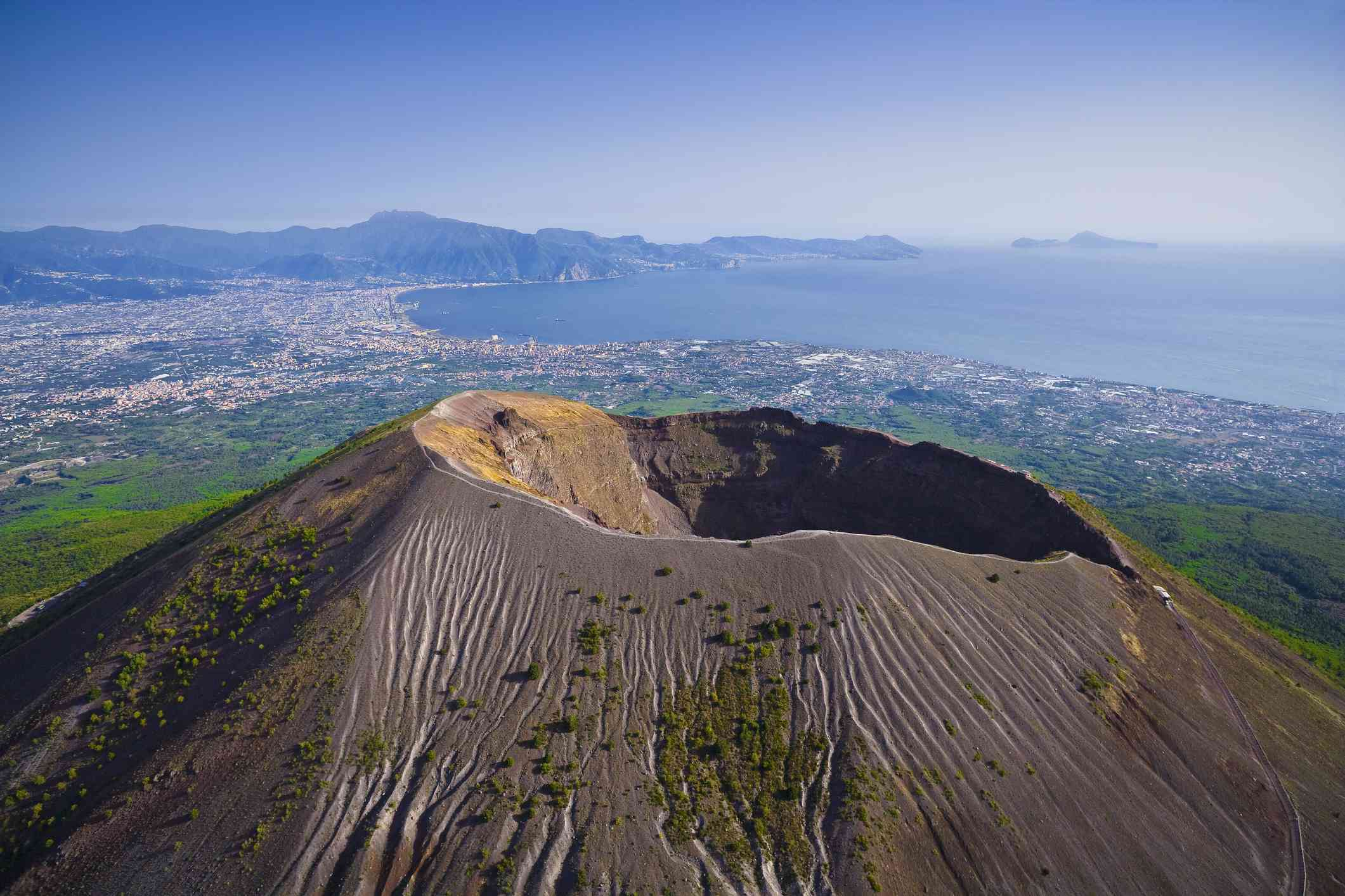 Crater of volcanic Mt. Vesuvius, aerial view