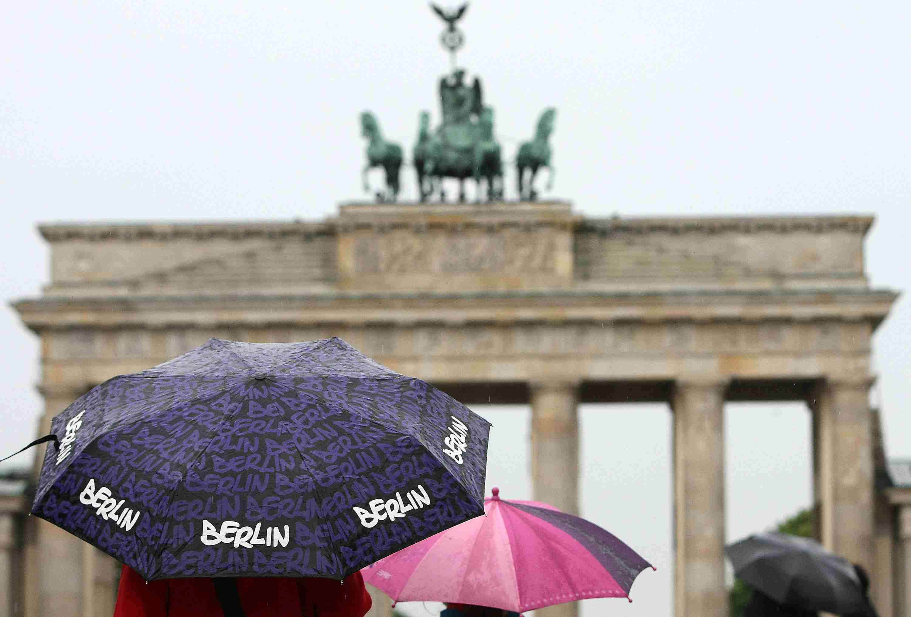 Umbrellas on a rainy day in Germany.