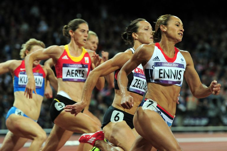 2012 heptathlon gold medalist Jessica Ennis leads the pack in London, during the 200-meter run.