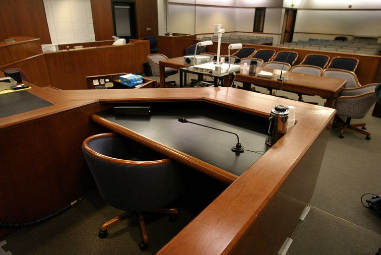A typical US courtroom as viewed from behind the witness stand.