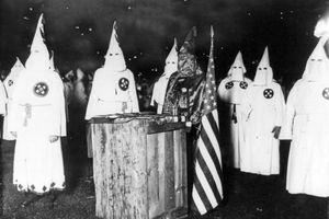 Altar with K eagle in black robe at a meeting of nearly 30,000 Ku Klux Klan members from Chicago and northern Illinois.