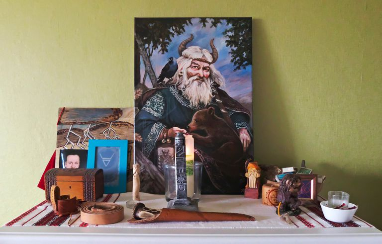 Slavic home altar with portrait of Veles