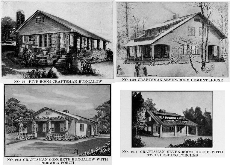 Four popular Craftsman houses from The Craftsman Magazine, September 1916