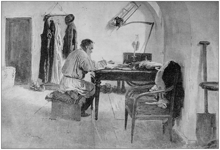 Antique painting illustration: Leo Tolstoy
