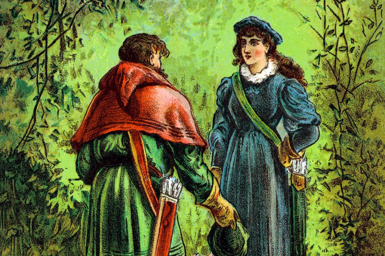 Robin Hood and Madi Marian meet in Sherwood Forest