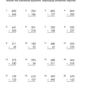digit subtraction worksheets some regrouping subtraction worksheet