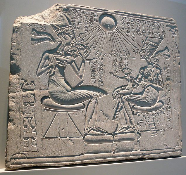 A house altar showing Akhenaten, Nefertiti and their Daughters in limestone. Amarna period.