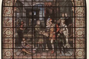 Caxton Stained-Glass Window with Edward IV and Elizabeth Woodville