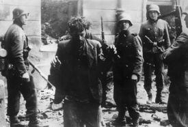 photo of Jewish fighters captured in the Warsaw Ghetto