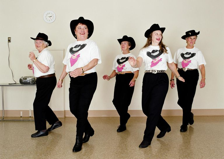Mature women, line dancing, dance studio
