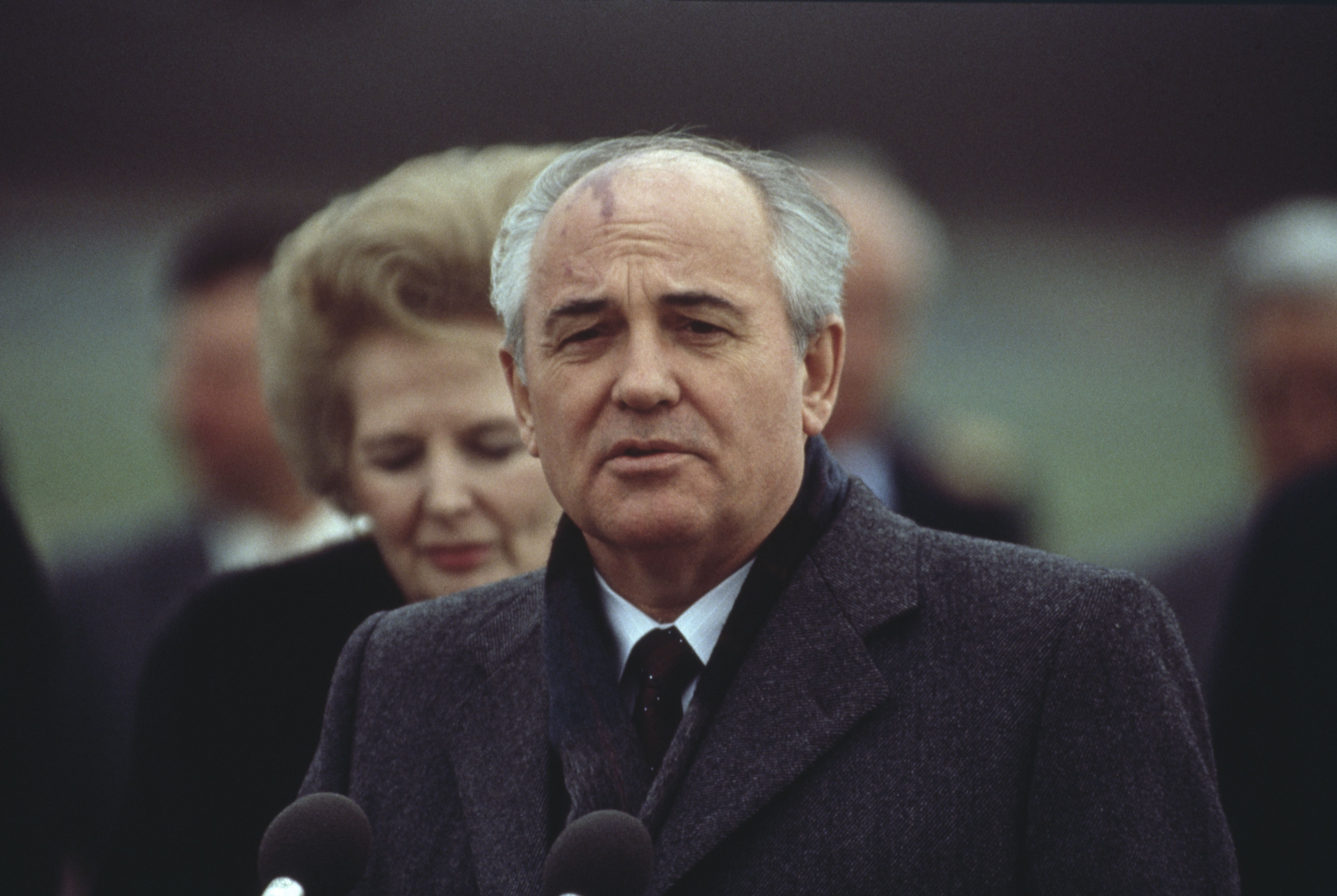 Russian leader Mikhail Gorbachev at the end of an official visit to London. (April 7, 1989)