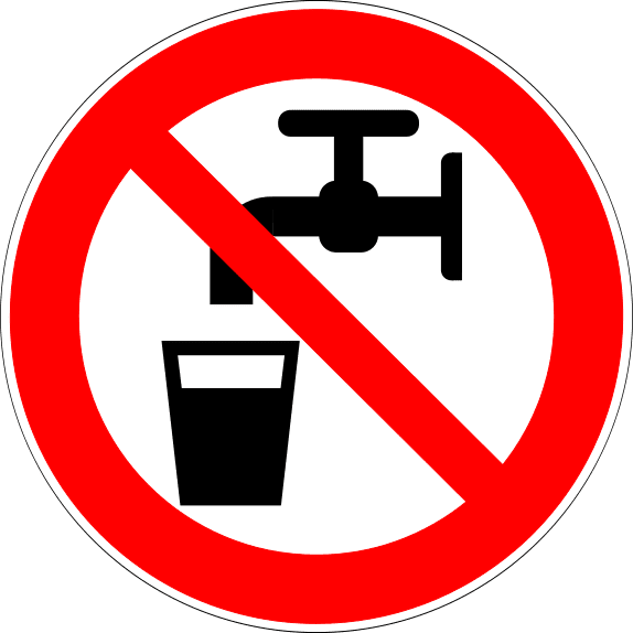 Lab safety signage, water not safe for consumption