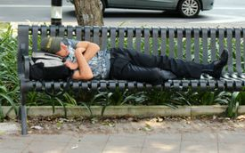 sleeping in the park