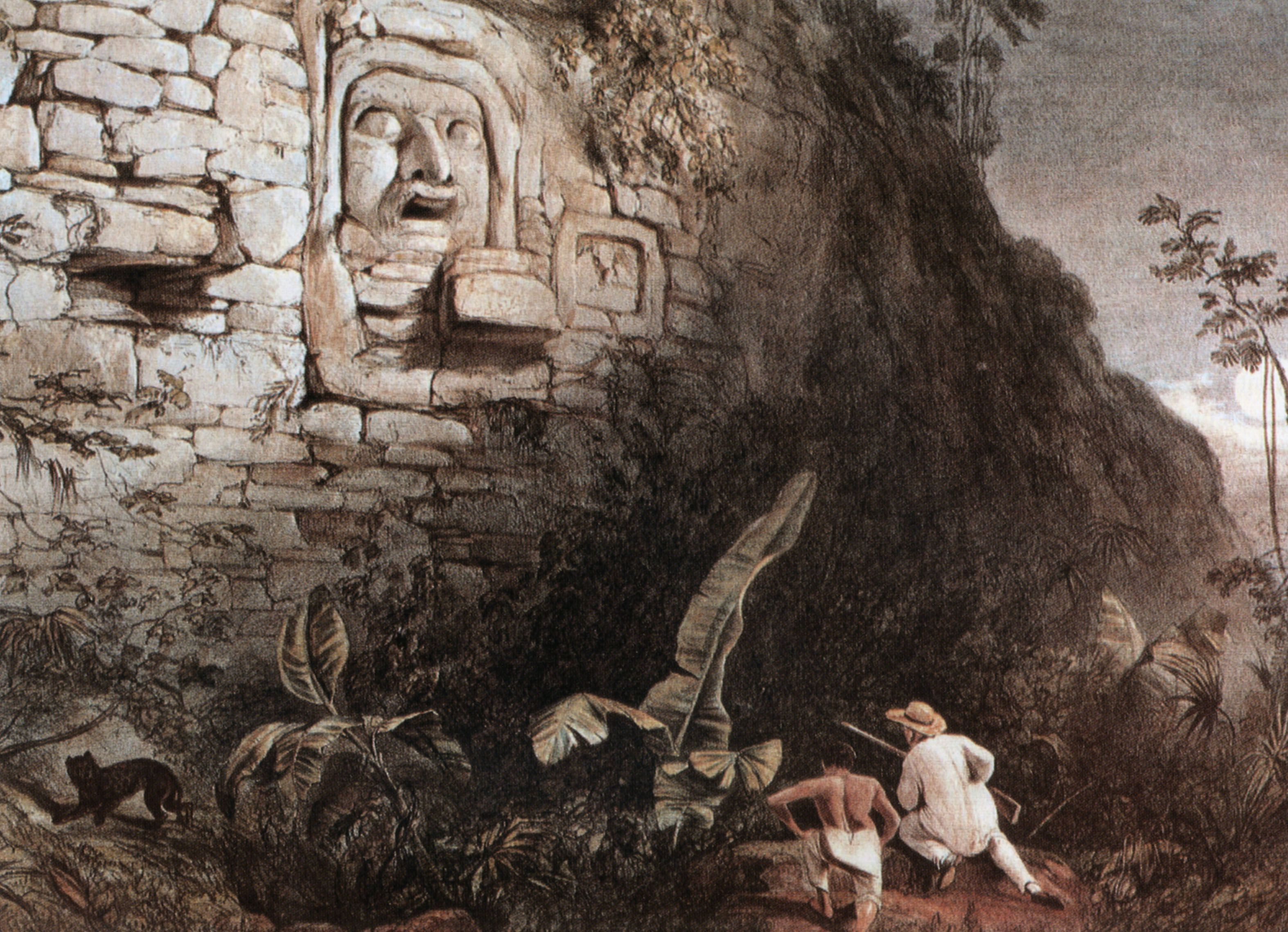 Maya Sculpture of Itzamna, lithography by Frederick Catherwood in 1841 : it is the only picture of this stucco mask (2m high).